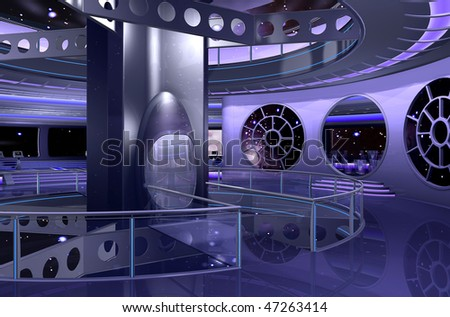3D rendering of a spaceship interior