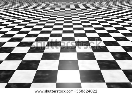 3d rendering of a square black and white tiles floor