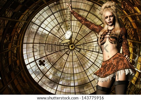 3d rendering of a steampunk girls with clock as illustration - stock photo