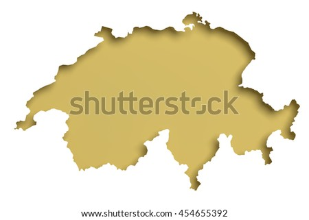 3d rendering of a Switzerland map on white background.