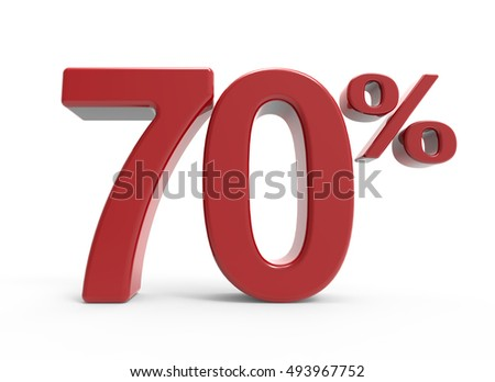 3d rendering of a 70% symbol, isolated on white background,