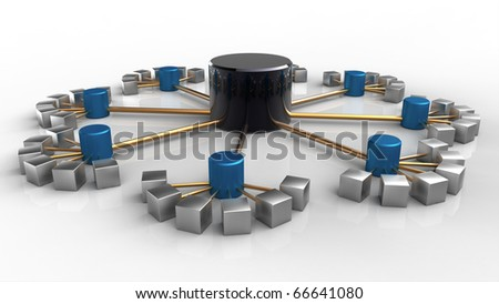 3D rendering of a symbolic network isolated on white - stock photo