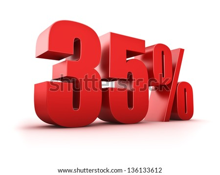 3D Rendering of a thirty-five percent symbol - stock photo