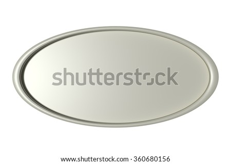 3d rendering of a three-dimensional silver round frame circle on white background. Isolated - stock photo