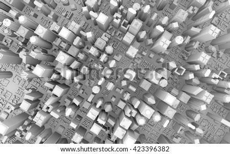 3d rendering of a top view city - stock photo
