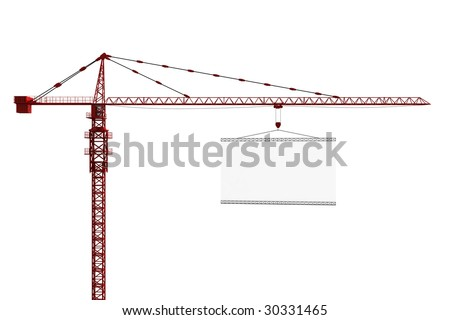 3d rendering of a tower crane with an empty sign - stock photo