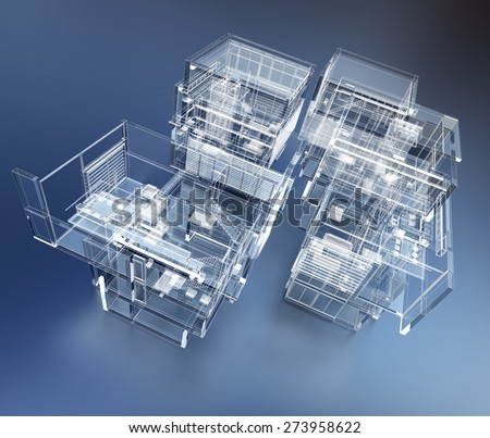3D rendering of a transparent building against a blue background - stock photo