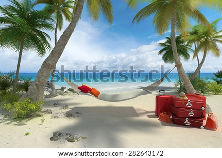 3D rendering of a tropical beach with a hammock and a pile of luggage - stock photo