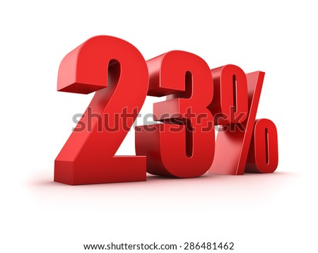 3D Rendering of a twentythree percent symbol