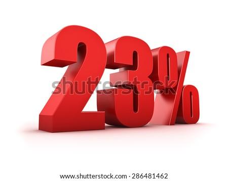 3D Rendering of a twentythree percent symbol - stock photo
