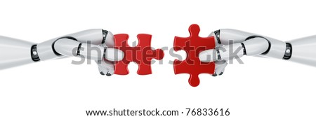 3d rendering of a two robot hands holding a puzzle piece - stock photo