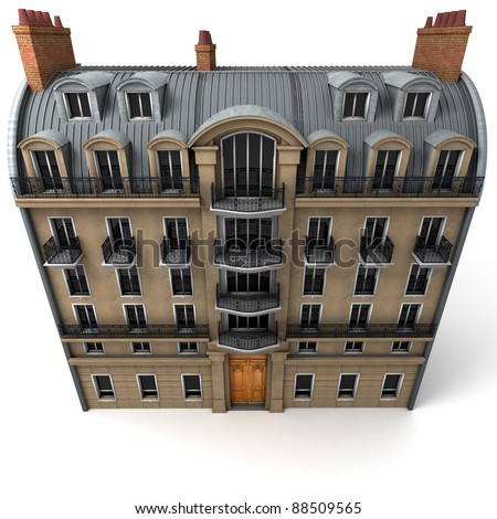 3D rendering of a typically Parisian building, Aerial perspective - stock photo
