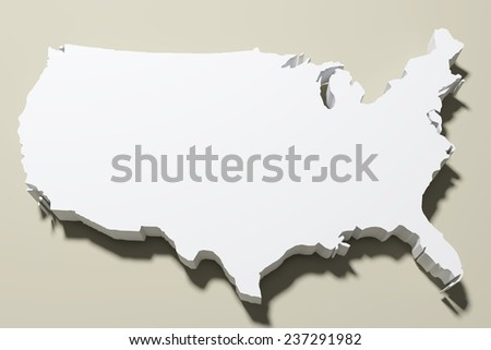 3d rendering of a United States map - stock photo