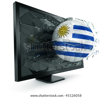 3d rendering of a Uruguayan soccerball breaking through monitor - stock photo