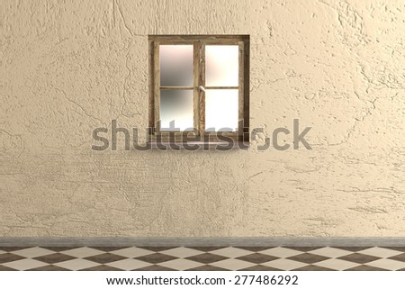 3d rendering of a vintage room and and an old window - stock photo