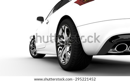 3D rendering of a white car on a clean background