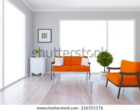 3D rendering of a white interior of a living room - stock photo