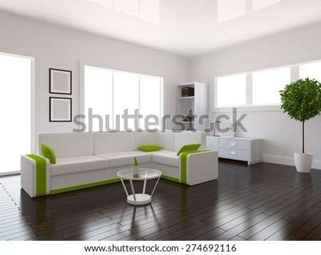 3d rendering of a white interior of a living room