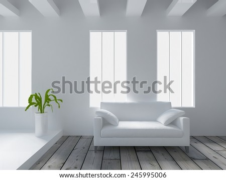 3D rendering of a white interior with a white sofa - stock photo