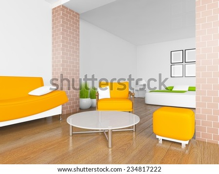 3D rendering of a white interior with orange furniture - stock photo