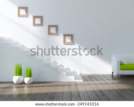 3D rendering of a white interior with stairs - stock photo