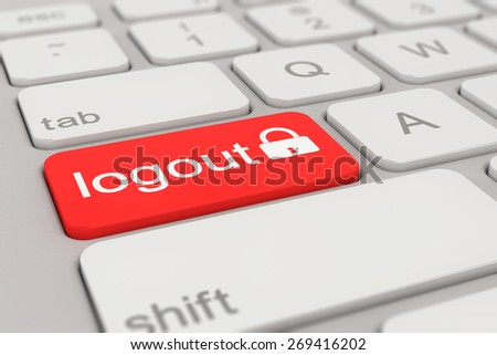 3d rendering of a white keyboard with red logout button, internet concept.  - stock photo