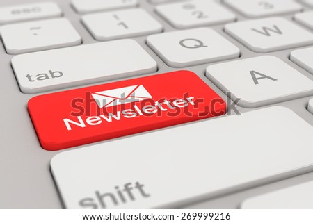 3d rendering of a white keyboard with red newsletter button, business concept.
