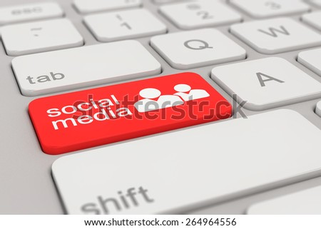 3d rendering of a white keyboard with red social media button, web concept.