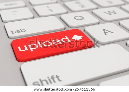 3d rendering of a white keyboard with red upload button, web concept.