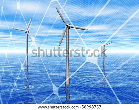 3D rendering of a wind turbines in the sea with solar panel - stock photo