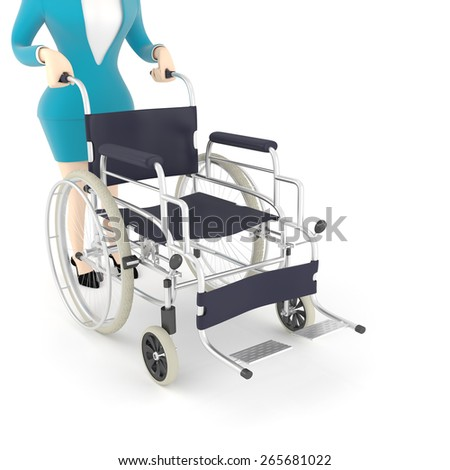 3d rendering of a woman in wheelchair background. - stock photo