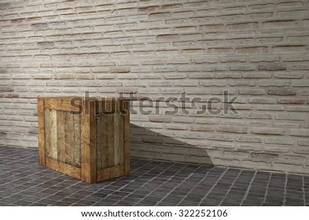 3d rendering of a wooden box on a warehouse - stock photo