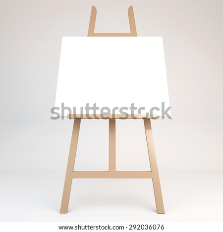 3d rendering of a wooden easel  - stock photo