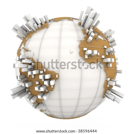 3D rendering of a world map in white and brown with towers coming out of the continents