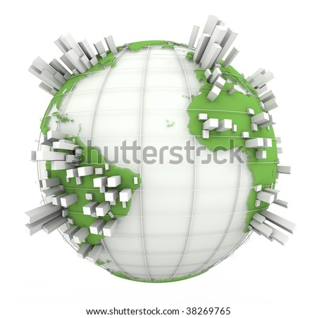 3D rendering of a world map in white and green with towers coming out of the continents