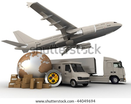 3D rendering of  a world map, packages, a chronometer vans, trucks, and an airplane - stock photo