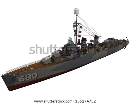 3d Rendering of a World War 2 era US Destroyer - stock photo
