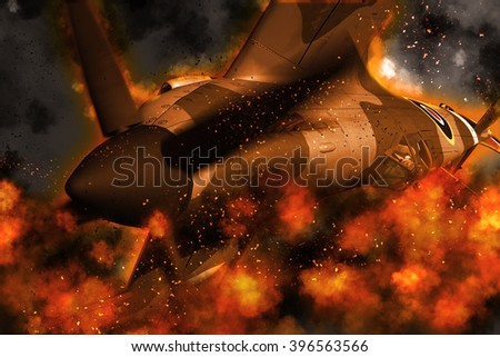 3D rendering of a ww2 Supermarine Spitfire with fire explosion effect - stock photo