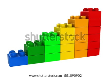 3d rendering of abstract chart from plastic building blocks isolated over white background