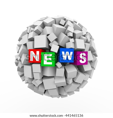 3d rendering of abstract cubes boxes sphere ball of word text news - stock photo