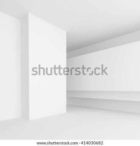 3d Rendering of Abstract Gallery Interior. White Modern Architecture Background - stock photo