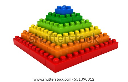 3d rendering of abstract pyramid from plastic building blocks isolated over white background
