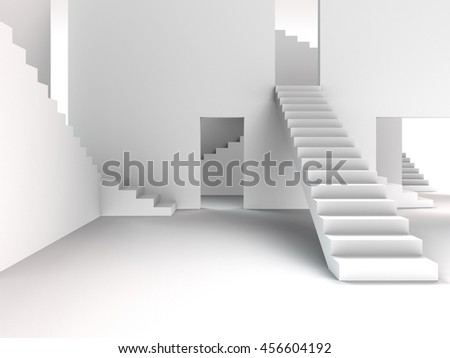 3D rendering of an abstract interior architecture with stairways  - stock photo