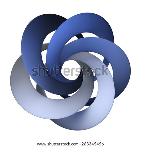 3D rendering of an abstract shape with blue interlocked rings - stock photo
