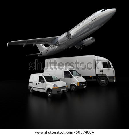 3D rendering of an airplane, a truck, a van and a lorry against a black background