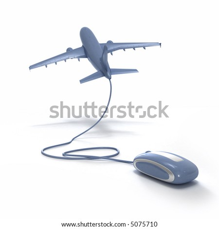 3D rendering of an airplane connected to a computer mouse - stock photo
