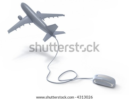 3D rendering of an airplane connected to a mouse - stock photo