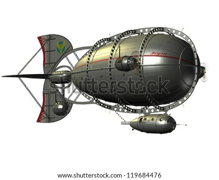 3D rendering of an airship Zeppelin