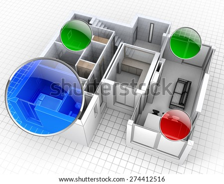 3D rendering of an apartment, aerial view, with surveillance spots - stock photo