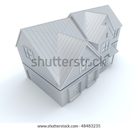 3D rendering of an architecture model in white - stock photo